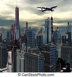 airliner above futuristic cityscape - airliner silhouette...