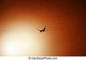Airliner after take off during sunset - Passenger aeroplane...