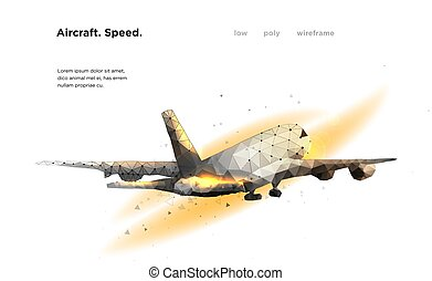 Airliner Aircraft Speed A flying airliner is a top view Illustration is executed in the form of particles, geometric art, lines and points in the form of a starry sky or space. Low poly wireframe mesh