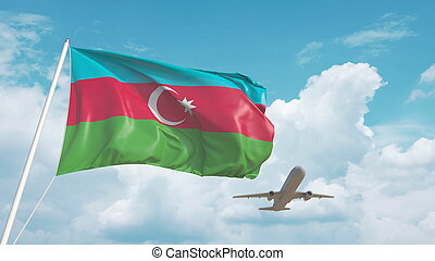 Airliner approaches the Azerbaijani flag. Tourism in Azerbaijan. 3D rendering