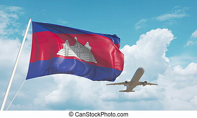 Airliner approaches the Cambodian flag. Tourism in Cambodia. 3D rendering