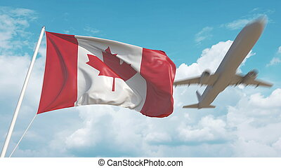 Airliner approaches the Canadian flag. Tourism in Canada. 3D rendering