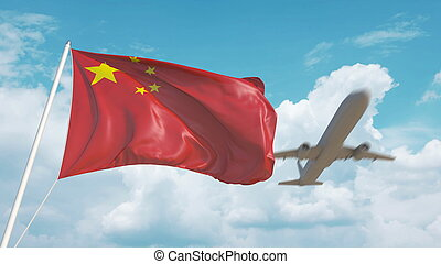 Airliner approaches the Chinese flag. Tourism in China. 3D rendering