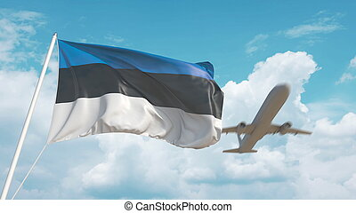 Airliner approaches the Estonian national flag. Tourism in Estonia. 3D rendering