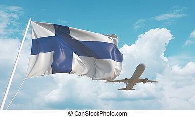 Airliner approaches the Finnish national flag. Tourism in Finland. 3D rendering