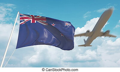 Airliner approaches the flag. Tourism in New Zealand. 3D rendering