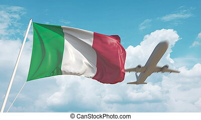 Airliner approaches the Italian flag. Tourism in Italy. 3D rendering