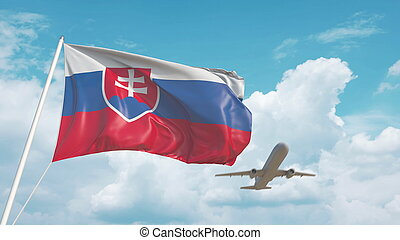 Airliner approaches the Slovakian flag. Tourism in Slovakia. 3D rendering