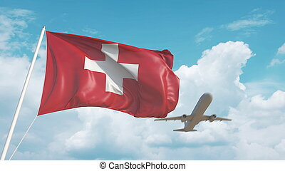 Airliner approaches the Swiss flag. Tourism in Switzerland. 3D rendering