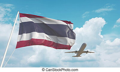 Airliner approaches the Thai flag. Tourism in Thailand. 3D rendering