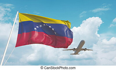 Airliner approaches the Venezuelan flag. Tourism in Venezuela. 3D rendering