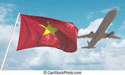 Airliner approaches the Vietnamese flag. Tourism in Vietnam. 3D rendering