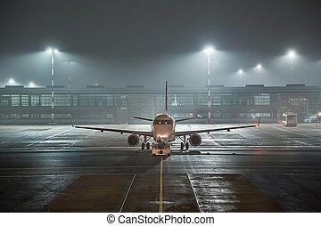 Airliner at an airport at night