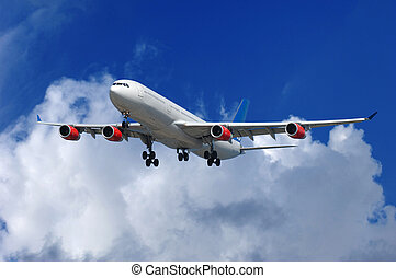 Airliner - Big airliner on blue and cloudy sky.
