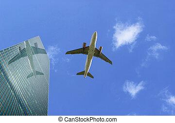 airliner, com, reflexão