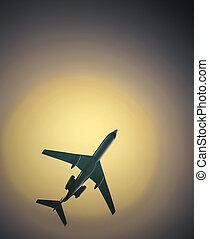 airliner, em, cloudless, quentes, céu