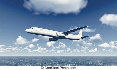 Airliner flies over ocean 4 - Passenger plane flying through...