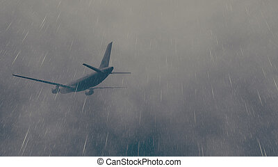 Airliner flies through a storm 4 - Passenger plane flying...