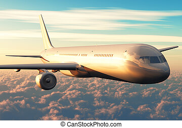 Airliner flight above the clouds in sunset