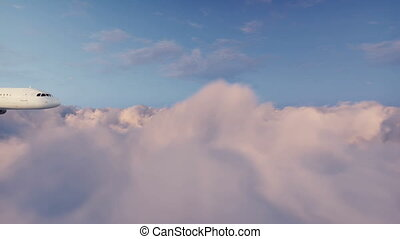 Airliner flying above cumulus clouds 4K
