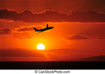 Airliner Flying Into Tropical Sunse - An Airliner Flying...