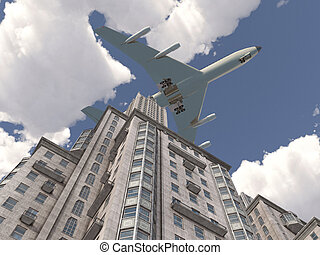 Airliner flying over a skyscraper