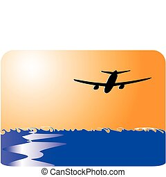 airliner flying over water to sun