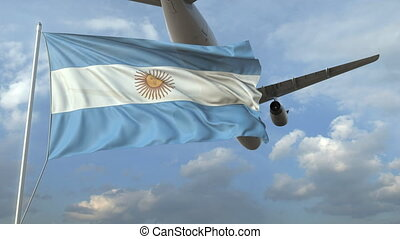 Airliner flying over waving flag of Argentina. 3D animation
