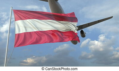 Airliner flying over waving flag of Austria. 3D animation