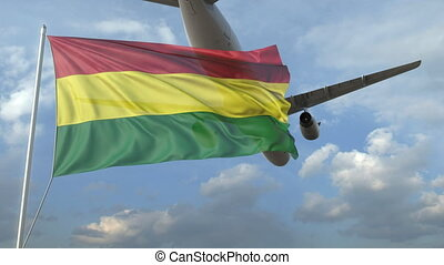 Airliner flying over waving flag of Bolivia. 3D animation