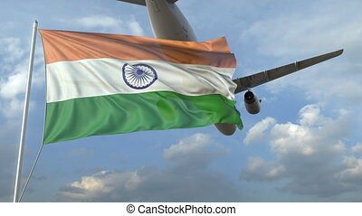 Airliner flying over waving flag of India. 3D animation