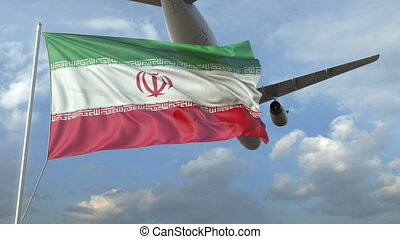 Airliner flying over waving flag of Iran. 3D animation