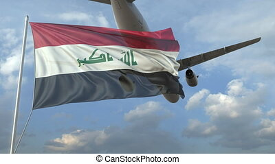 Airliner flying over waving flag of Iraq. 3D animation