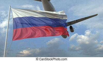 Airliner flying over waving flag of Russia. 3D animation