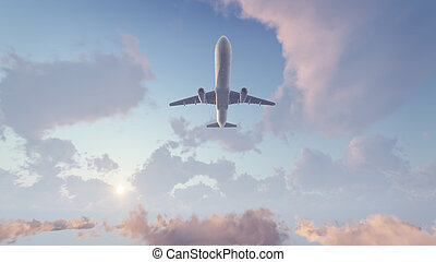 Airliner flying overhead high in the sky - Passenger...