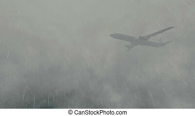 Airliner flying through a storm - Passenger plane flying...