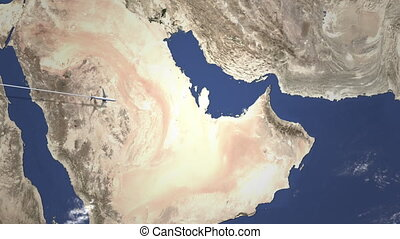 Airliner flying to Abu Dhabi, United Arab Emirates from...