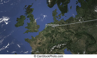 Airliner flying to Amsterdam, Netherlands from east, 3D rendering