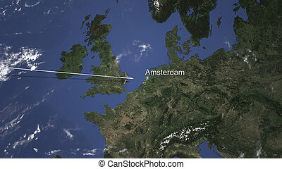 Airliner flying to Amsterdam, Netherlands from west. 3D rendering