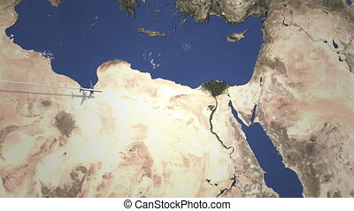 Airliner flying to Cairo, Egypt from west on the map. Intro 3D animation