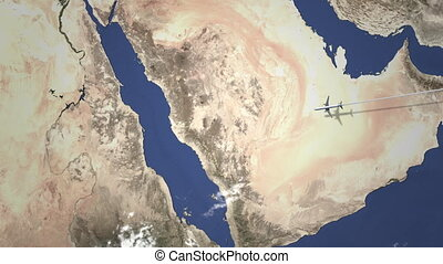 Airliner flying to Jeddah, Saudi Arabia from east, 3D...