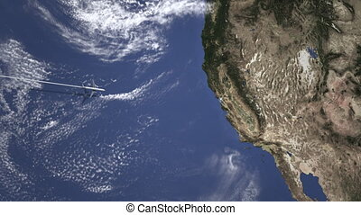Airliner flying to San Francisco, United States from west on...