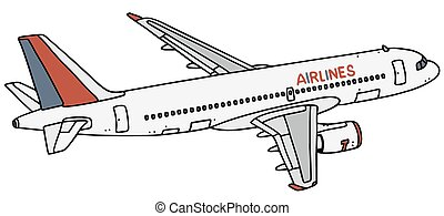 Airliner - Hand drawing of a white airliner - not a real...