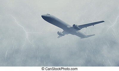 Airliner in a stormy sky with lightnings