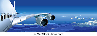 airliner a380 in the sky. Available EPS-8 vector format separated by groups and layers for easy edit
