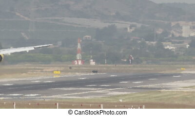 Airliner Landing - Airliner landing on the runway in...