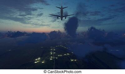 Airliner landing approach in night sky 4K