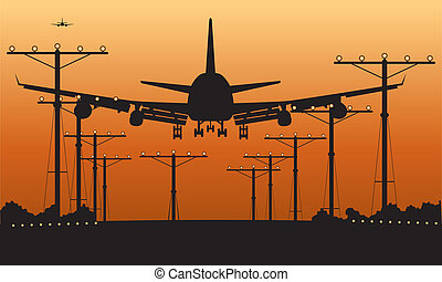 Airplane at takeoff seen from the bottom in the airport landing strip at sunset.