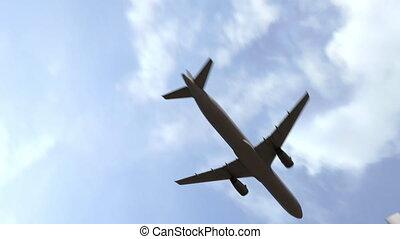 Airliner landing in Baku, Azerbaijan. 3D animation -...