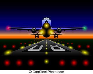 airliner, ocaso, aterrizaje